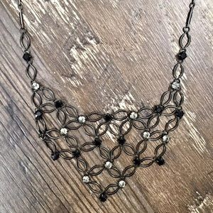 Black & Silver Diamond Necklace